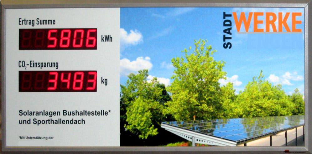 Photovoltaik-Anzeige, Solarstrom, Outdoor, Beschriftung frei wählbar