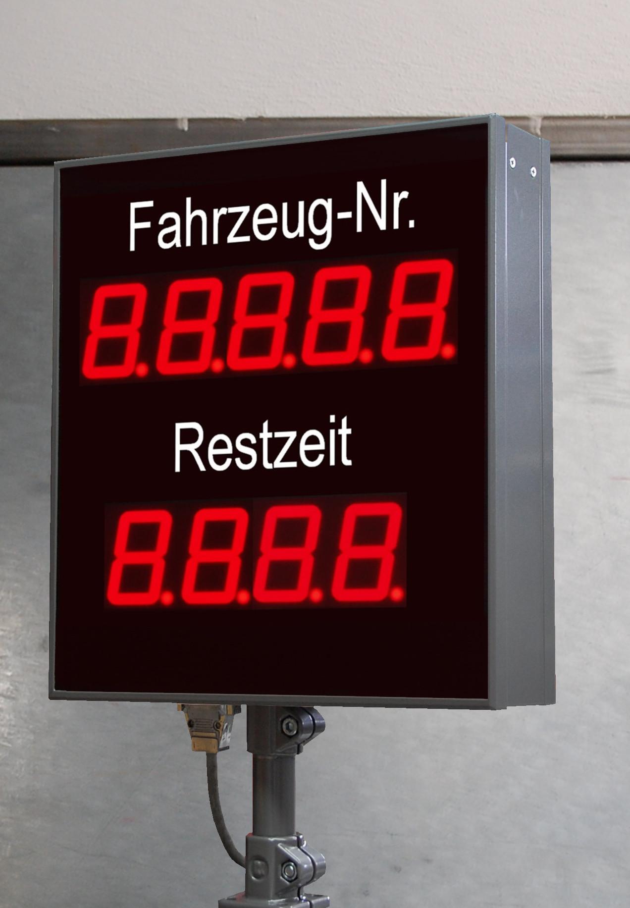 Numerische LED Großanzeige, Produktion-Restzeit, Zeichenhöhe 100 mm, Abmessungen 750x600x100 mm
