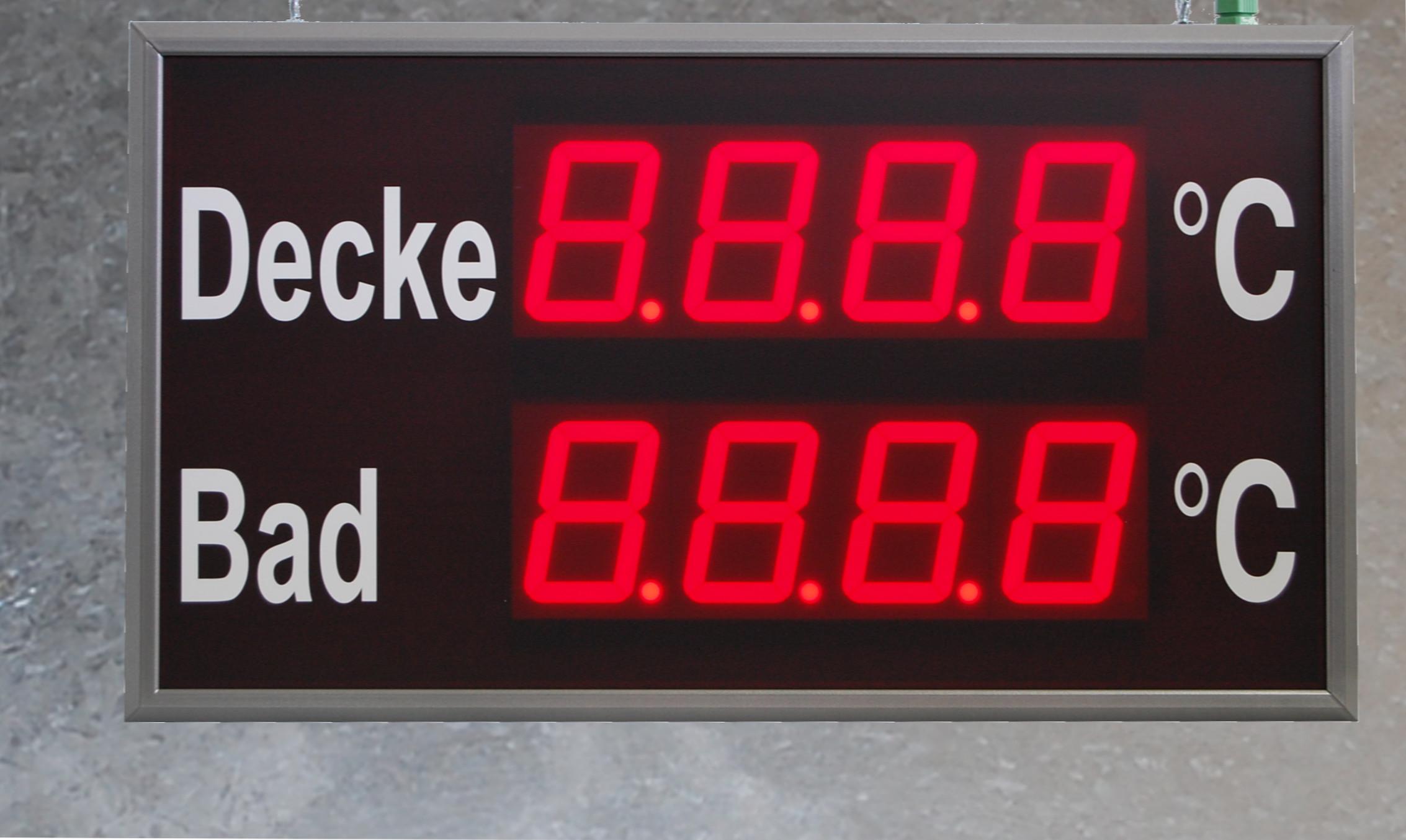 Numerische LED Großanzeige, Temperaturmessung, Zeichenhöhe 100 mm, Abmessungen 400x800x100 mm