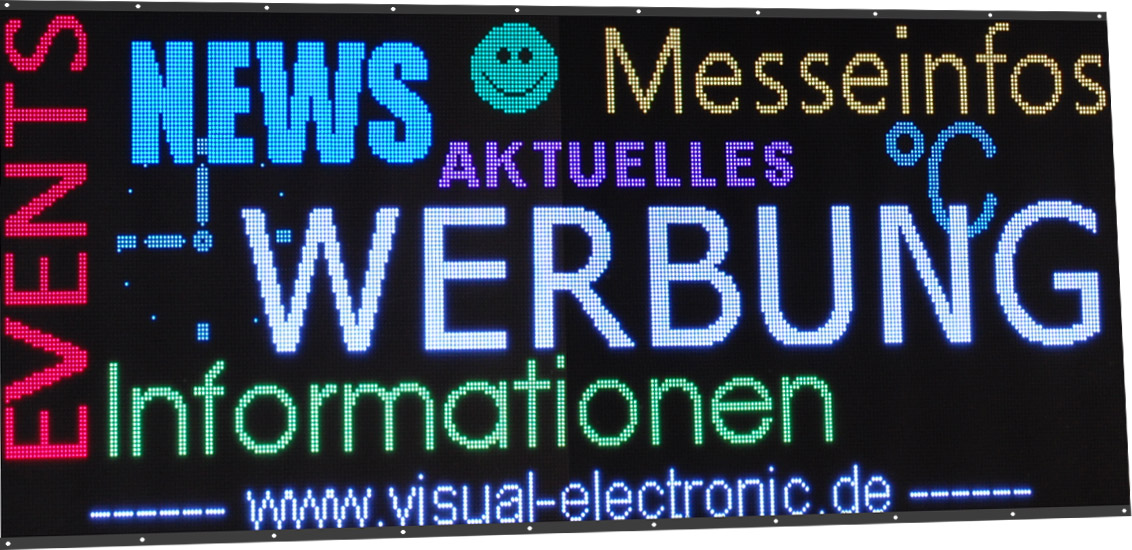 Videofähige LED-Matrix-Anzeige, Messestand, RGB, LED Matrix 128x320 Pixel, Pixel Pitch 6mm, Abmessungen 800x1950 mm