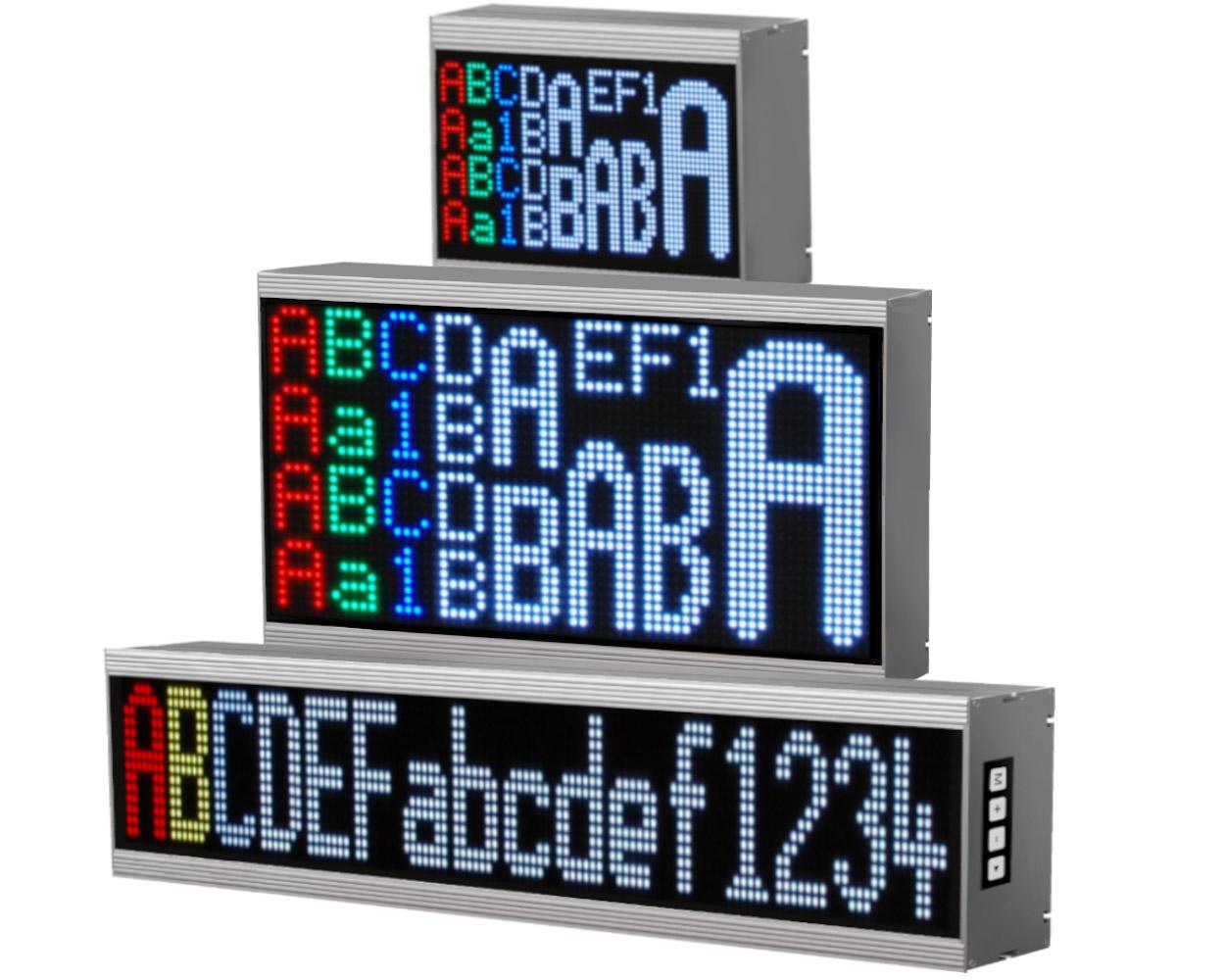 Alphanumeric large displays, 16 colors, indoor/outdoor, pixel pitch: 3-20 mm