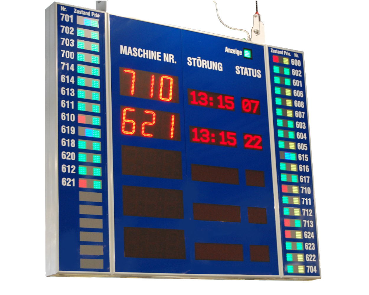 Fault indication, double-sided readable, 40x3 light panels status, dimensions 2100x2500x200 mm