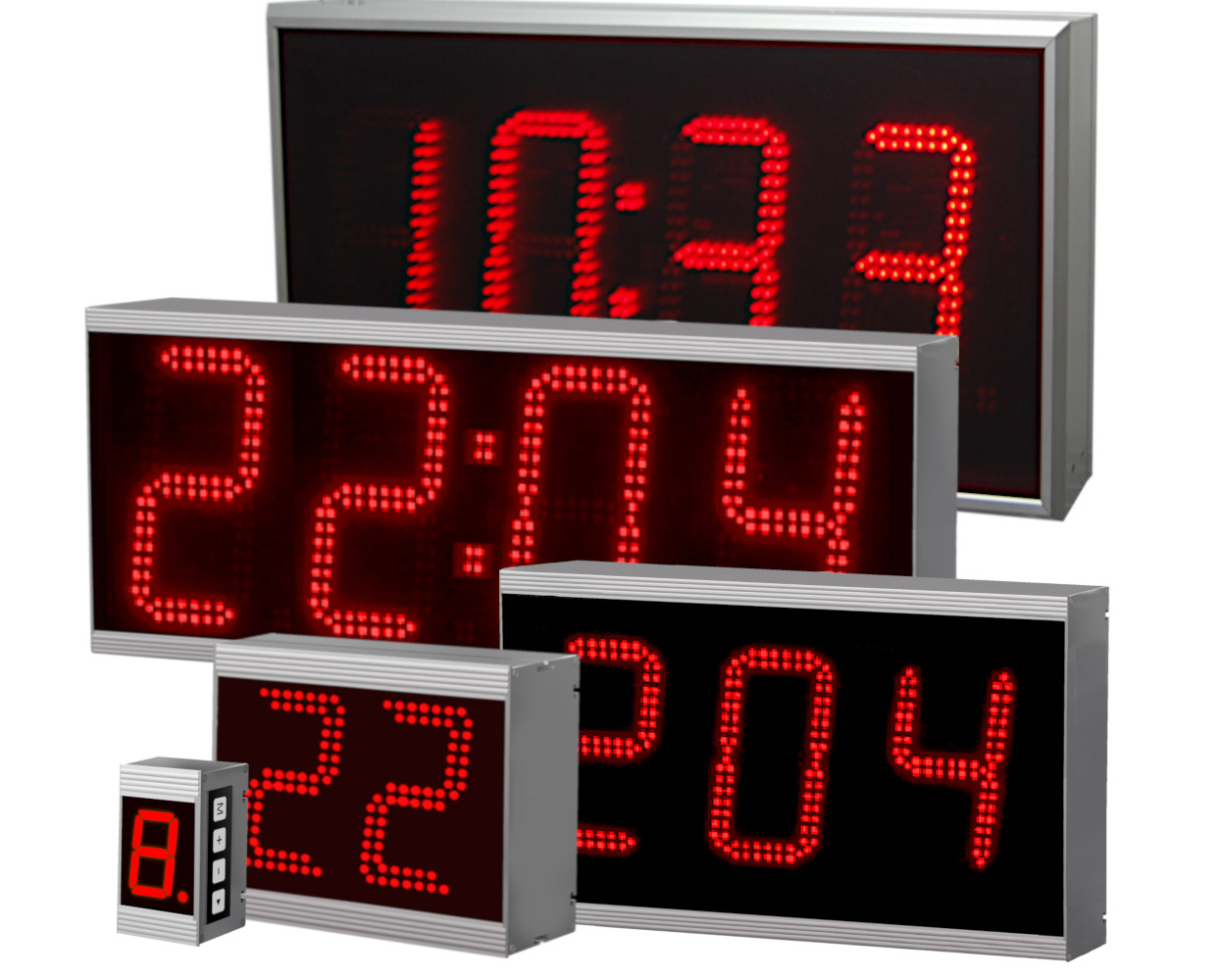 Numeric large displays, number of digits: 1 to 12 digits, dimension symbol, character sizes: 40 mm to 400 mm