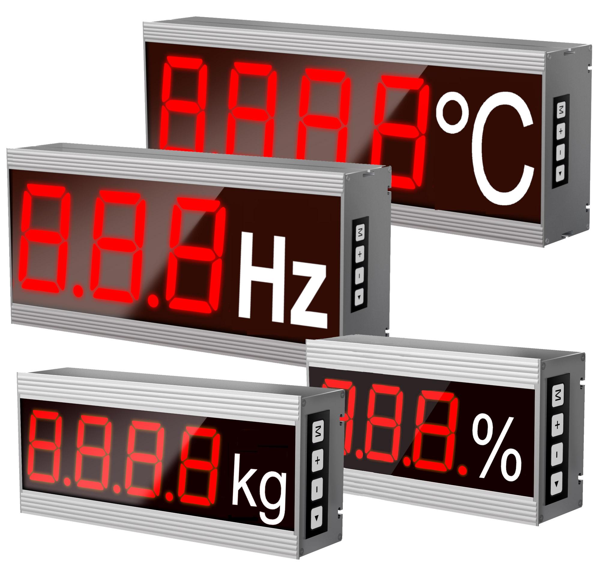 Numerische Großanzeigen, Stellenanzahl: 1-12 Stellen, Dimensionszeichen, Zeichengrößen: 40 bis 400 mm