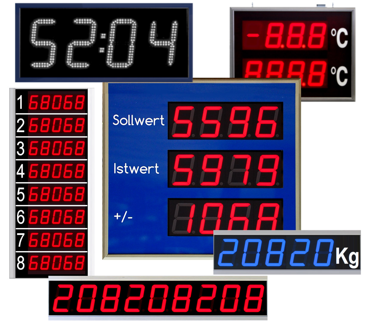 Single-line and multiple-line LED displays, indoor/outdoor